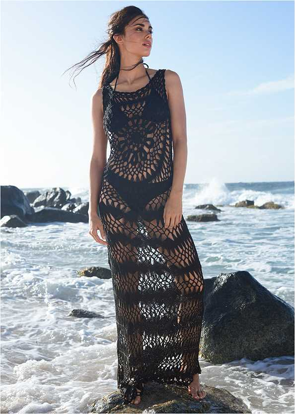 Crochet Maxi Dress Cover-Up,Triangle String Bikini Top,Scoop Front Classic Bikini Bottom ,Low Rise Classic Bikini Bottom