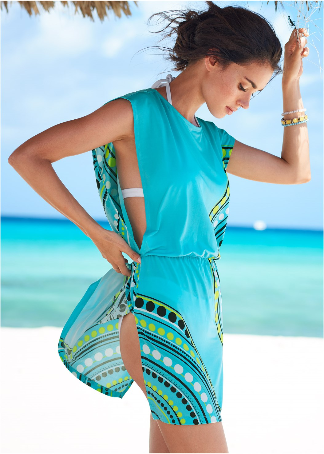 Blousant Cover-Up Dress,Enhancer Push Up Ring Halter Triangle Top ,Scoop Front Classic Bikini Bottom