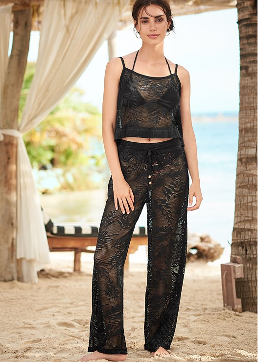 LACE DETAIL COVER-UP PANT,FRINGE DETAIL COVER-UP TOP,TRIANGLE BIKINI TOP,SCOOP FRONT BIKINI BOTTOM