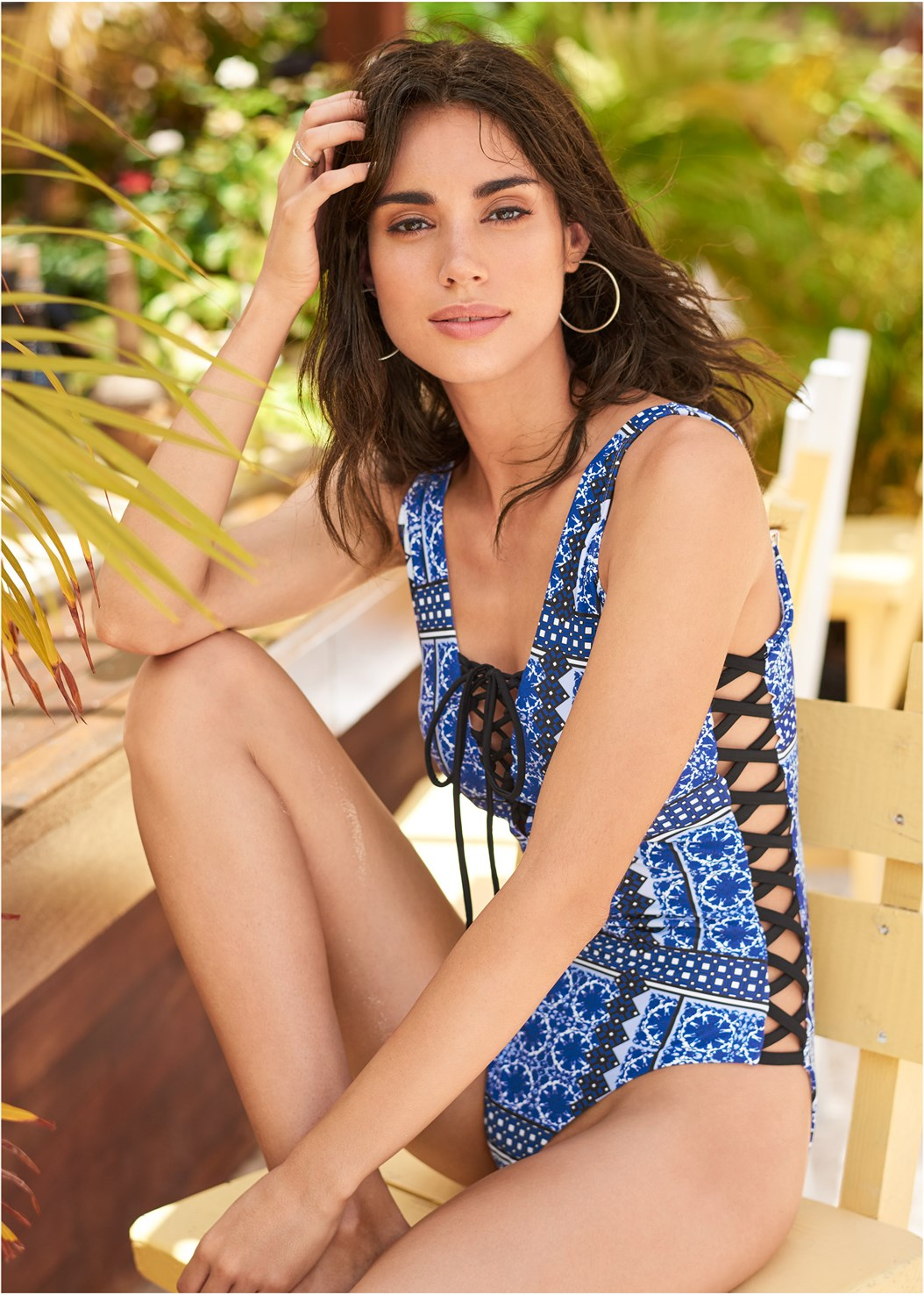 Poolside One-Piece,Lace Kimono Cover-Up,Denim Sandal