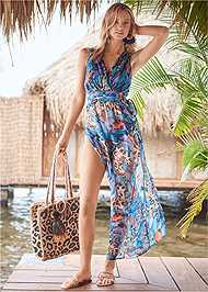 Front View Flowy Jumpsuit Cover-Up