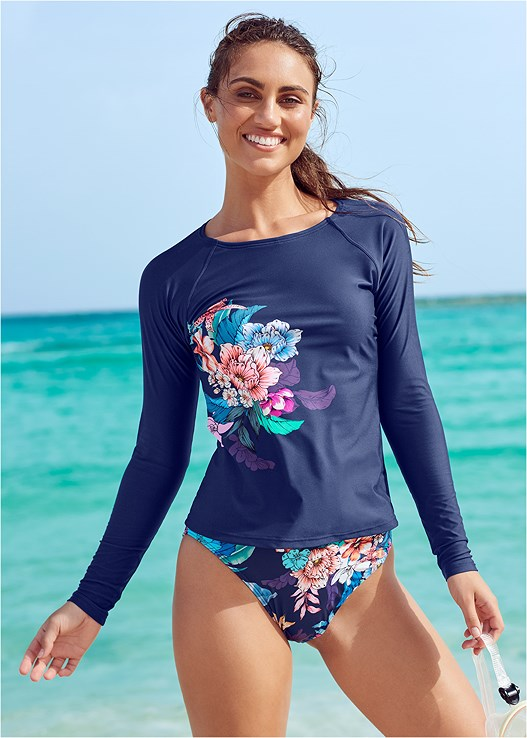 LONG SLEEVE RASH GUARD,FAUX WRAP SPORT TOP,HIGH WAIST BOTTOM