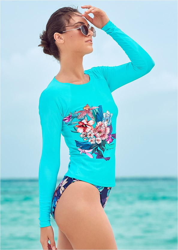 Long Sleeve Rash Guard,Heavenly Halter Top,High Waist Bottom