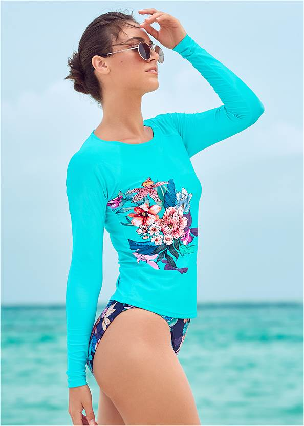 Relaxed Fit Rash Guard,Heavenly Halter Top,High Waist Bottom,Bandeau Ring One-Piece,Net Bag