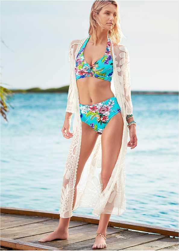 Lace Kimono Cover-Up,Heavenly Halter Top,High Waist Bottom