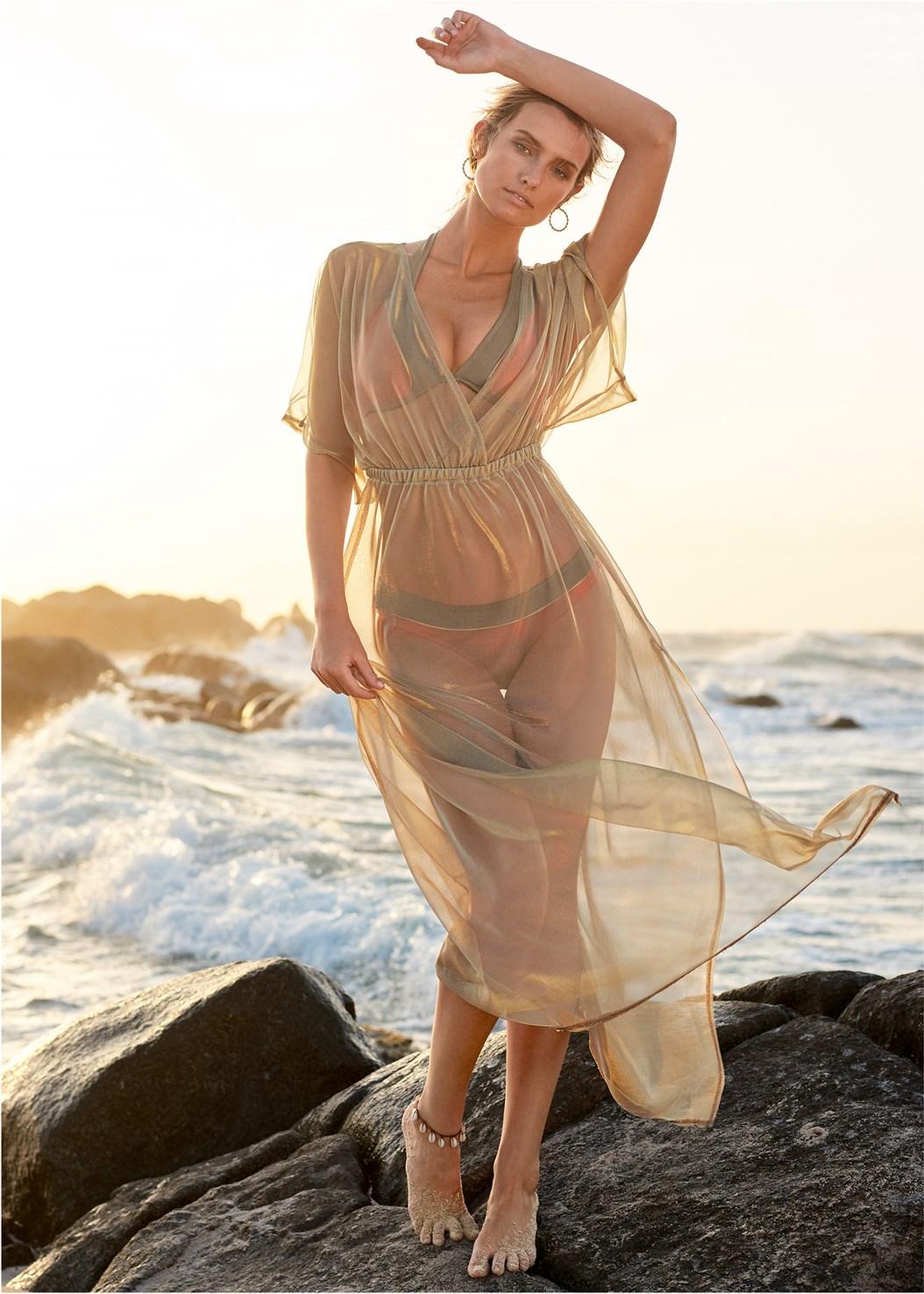 Sheer Cover-Up Dress,Underwire Halter Bikini Top,Mid Rise Bikini Bottom
