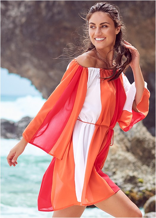 OFF THE SHOULDER COVER-UP,COLOR BLOCK MONKINI,UNDERWIRE HALTER BIKINI TOP,MID RISE BIKINI BOTTOM
