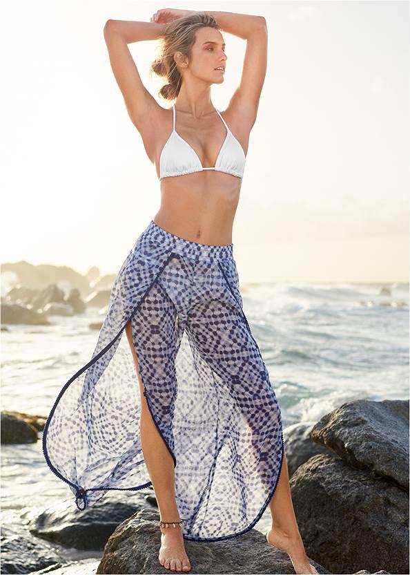 Pom Pom Trim Cover-Up Pants,Triangle String Bikini Top,Low Rise Classic Bikini Bottom ,Scoop Front Classic Bikini Bottom