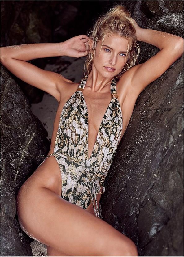 Venus Wrap One-Piece,Two Sets Of Sliders,Convertible Dress/Skirt,Lucite Detail Print Heels