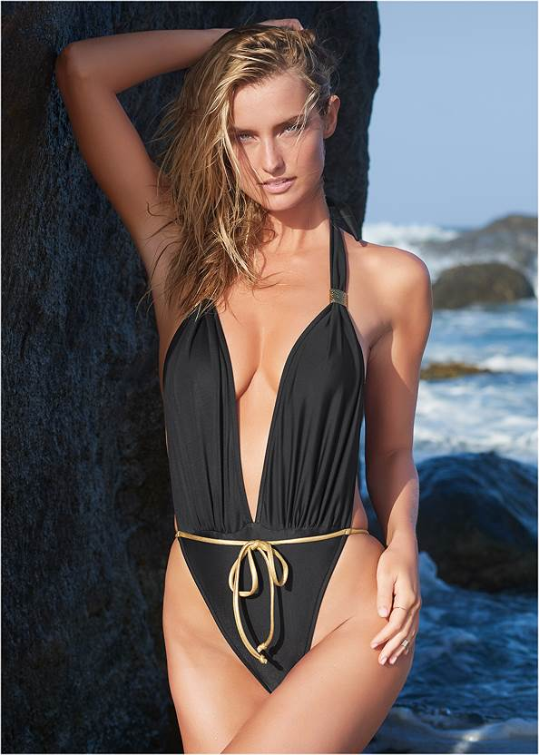 Venus Wrap One-Piece,Two Sets Of Sliders,Long Wrap Cover-Up Dress,Tie Front Beach Shirt,Lucite Ankle Wrap Wedge
