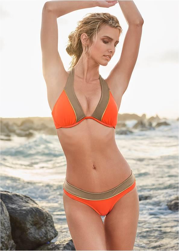 Underwire Halter Bikini Top,Mid Rise Bikini Bottom