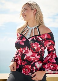 Front View Floral Bell Sleeve Top