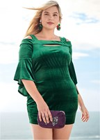 plus size velvet sleeve detail dress
