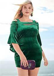 Front View Velvet Sleeve Detail Dress