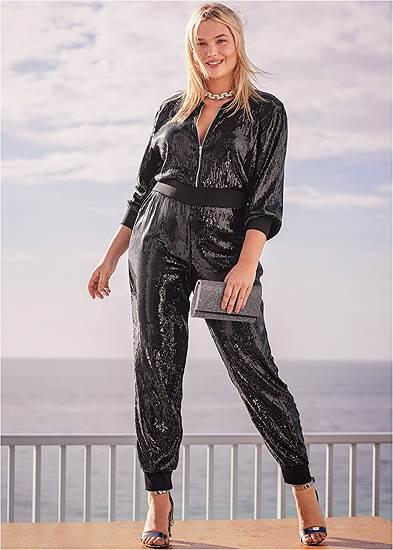 Plus Size Sequin Jogger Jumpsuit