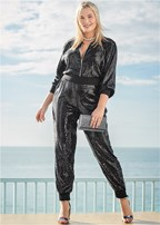 plus size sequin jogger jumpsuit