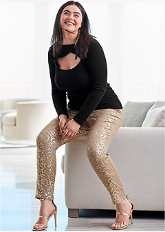 plus size metallic print pants