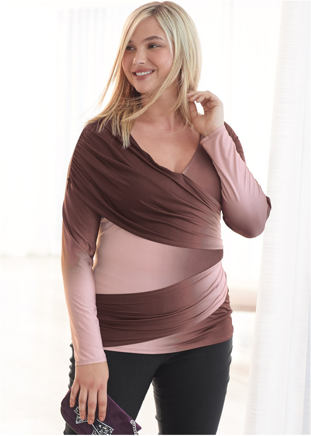 Ruched Ombre Top,Mid Rise Slimming Stretch Jeggings,Lurex Detail Scarf