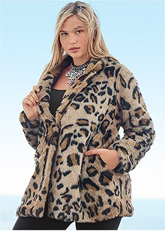 plus size faux fur leopard print coat