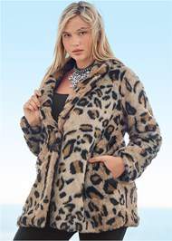 Front View Faux Fur Leopard Print Coat