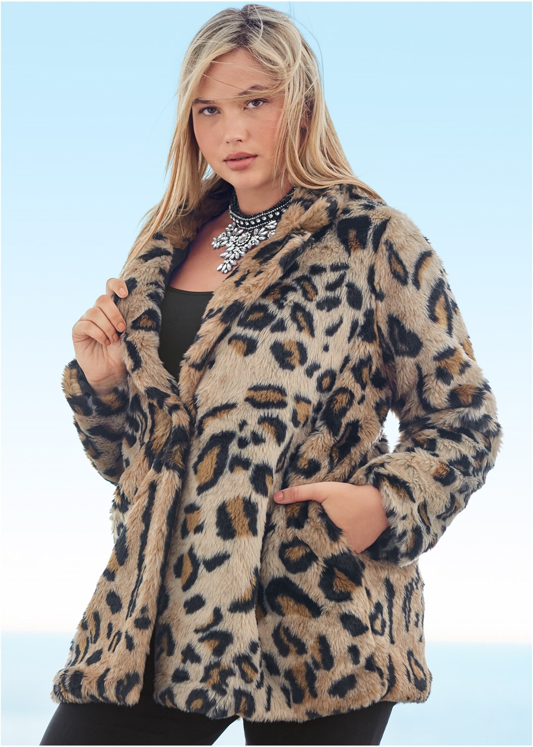 Faux Fur Leopard Print Coat,Basic Cami Two Pack,Mid Rise Slimming Stretch Jeggings