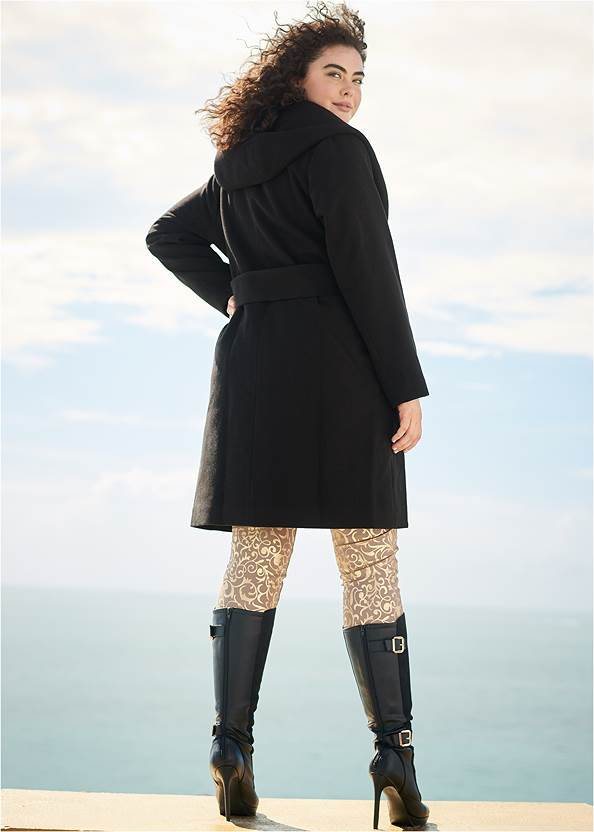 Back view Hooded Wrap Coat