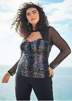 plus size metallic snake print top