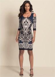 Alternate View Cold Shoulder Printed Dress