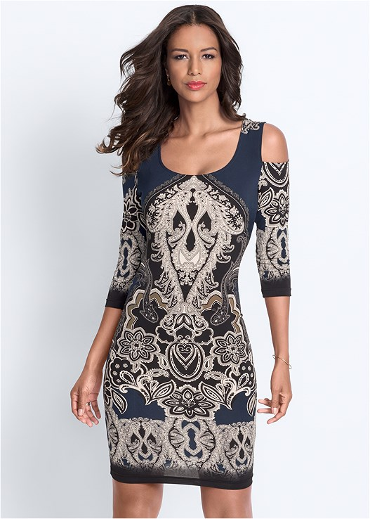 COLD SHOULDER PRINTED DRESS,LACE APPLIQUE PUSH UP BRA