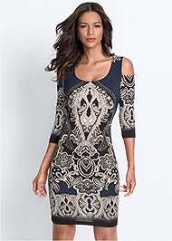 Front View Cold Shoulder Printed Dress