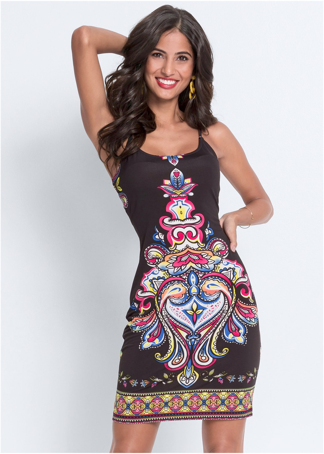 Printed Tank Dress,High Heel Strappy Sandals
