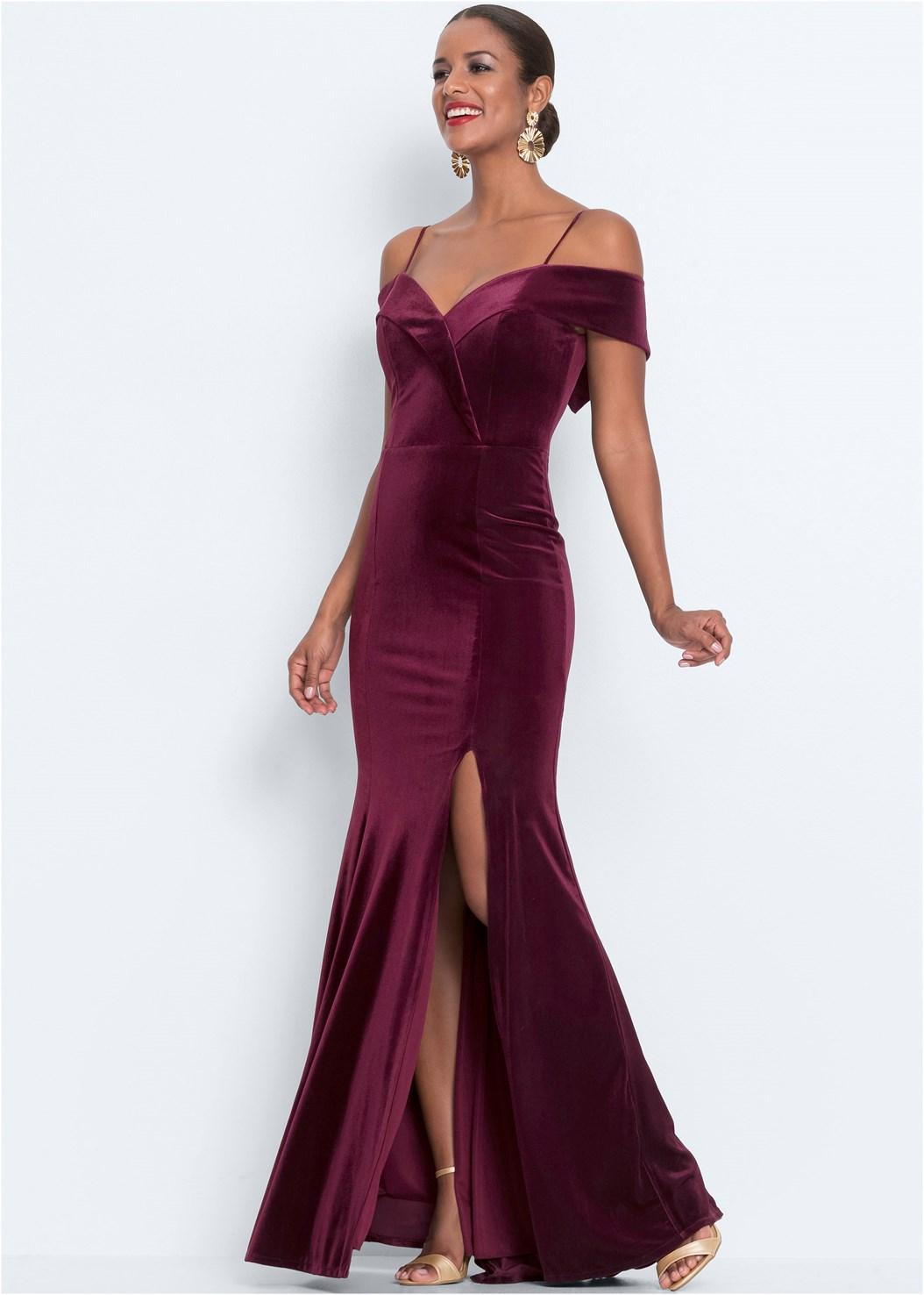 Velvet Long Dress,Strapless Bra With Geo Lace,Ankle Strap Heels,Medallion Tassel Earring