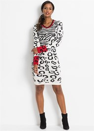 Full front view Leopard Sweater Dress