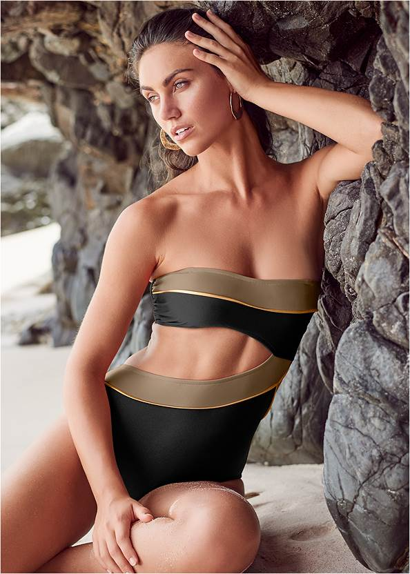 Front View Color Block Monkini