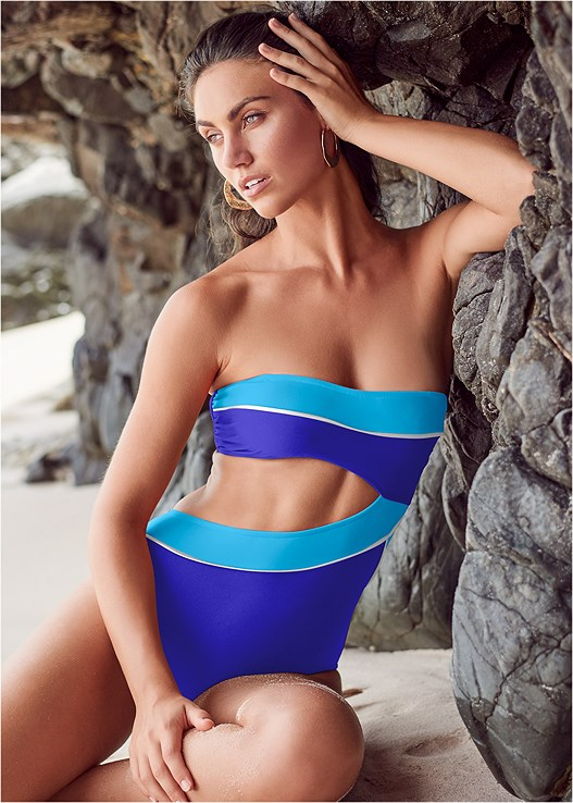 COLOR BLOCK MONKINI,OFF THE SHOULDER COVER-UP