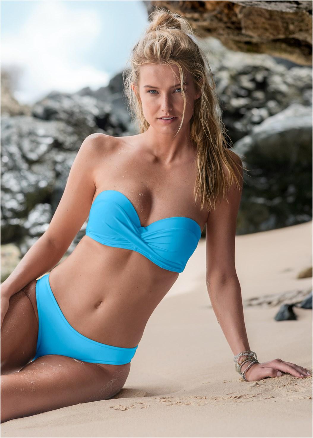 Scoop Front Classic Bikini Bottom ,Summer Breeze Bandeau,Strappy Bandeau Top