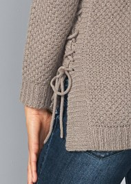 Alternate View Lace Up Sweater
