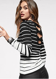 back detail striped sweater