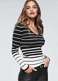 Cropped  view Back Detail Striped Sweater
