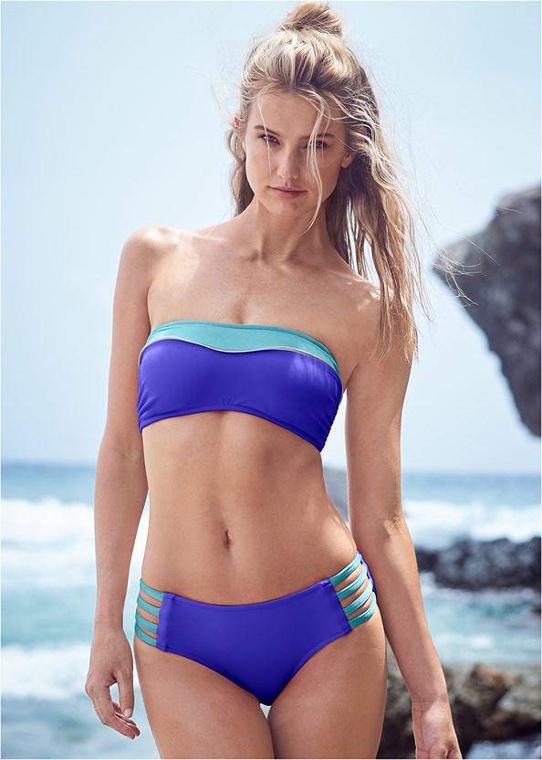 Color Block Bandeau Top,Color Block Tie Side Bottom,Mid Rise Bikini Bottom,Off The Shoulder Cover-Up