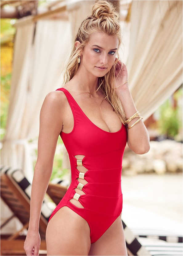 Peek-A-Boo One-Piece,Jewel Romper Cover-Up
