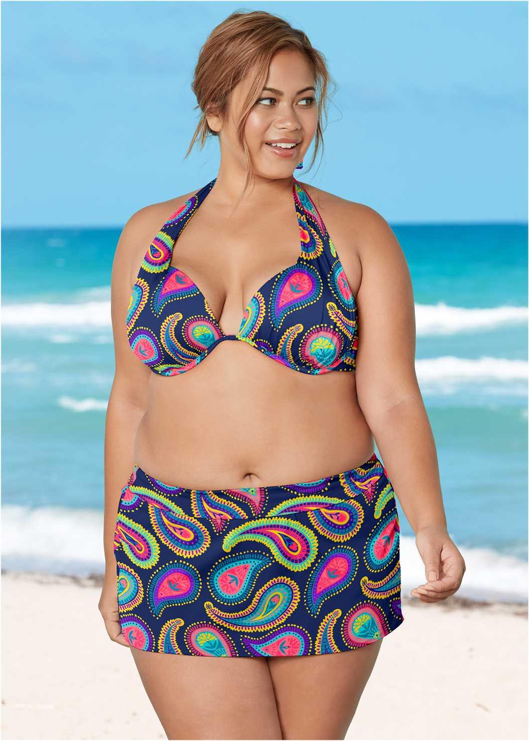 Marilyn Underwire Push Up Halter Top,Mid Rise Swim Skirt Bikini Bottom,Lattice Side Bikini Bottom,Adjustable Side Swim Short