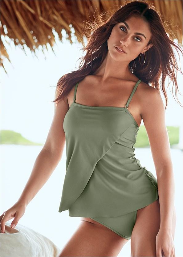 Classic Bandeau Tankini,Full Coverage Mid Rise Hipster Bikini Bottom,Mid Rise Swim Skirt Bikini Bottom,Sash Tie Maxi Cover-Up