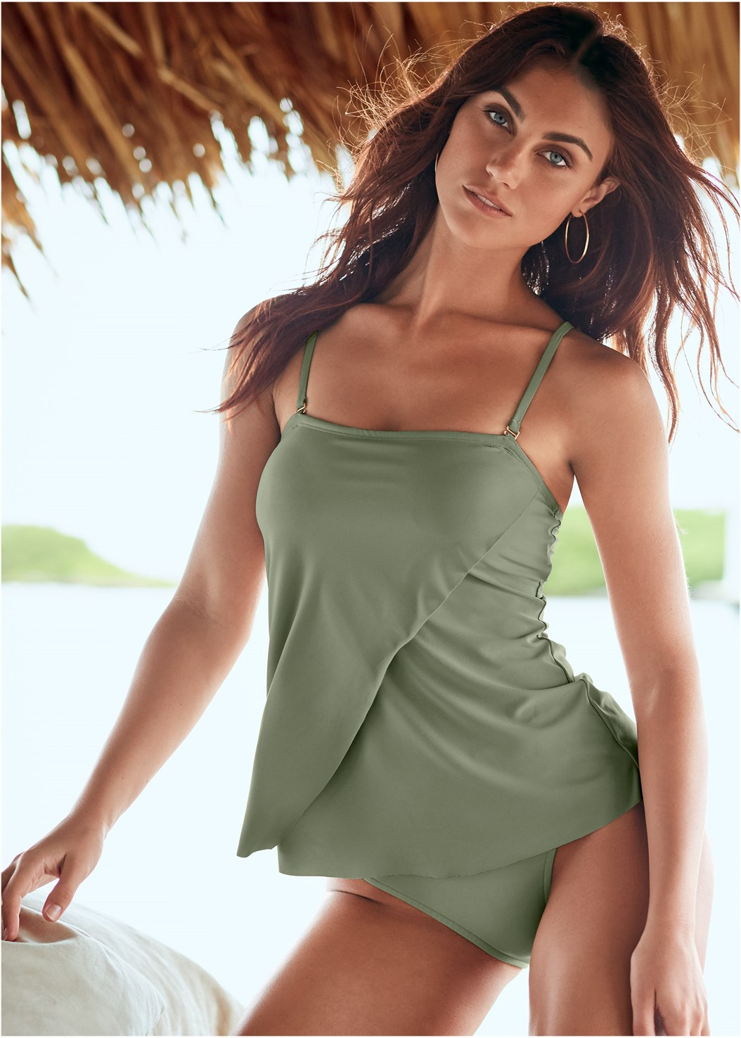 Classic Bandeau Tankini,Mid Rise Full Cut Bottom,Skirted Swim Bikini Bottom,Sash Tie Maxi Cover-Up