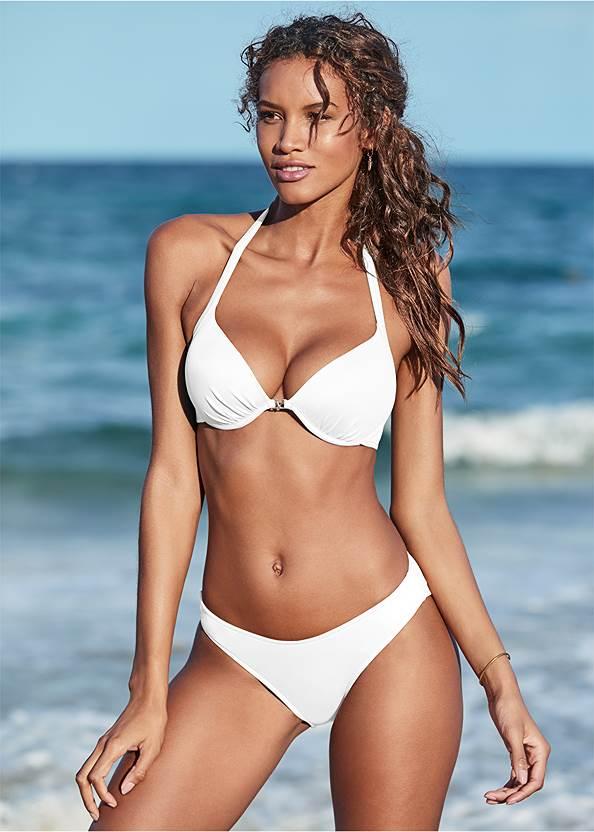 Venus Enhancer Halter Top,Scoop Front Classic Bikini Bottom ,Low Rise Classic Bikini Bottom ,String Side Bikini Bottom,Fold Waist Moderate Bottom,Poolside String Bottom,Sheer Caftan Cover-Up,Double Strap Printed Sandal