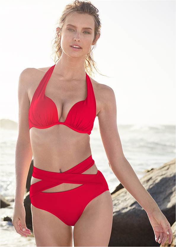 Marilyn Underwire Push Up Halter Top,Wrapped Mid Rise Bottom,Scoop Front Classic Bikini Bottom ,Mid Rise Strappy Bottom,Ruched Waist Bikini Bottom,Lattice Side Bikini Bottom,Strappy Cover Up Dress