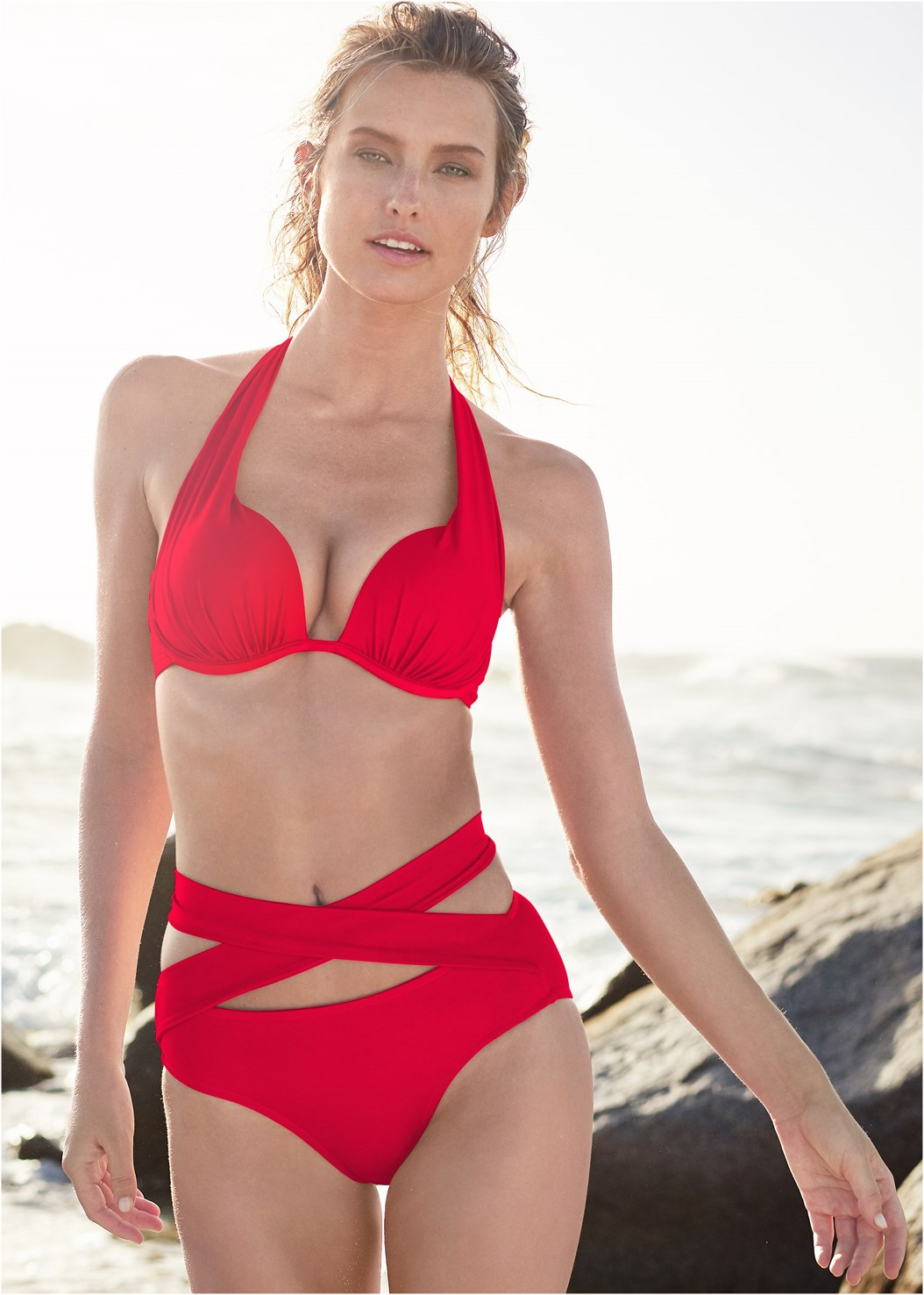 Marilyn Underwire Push Up Halter Top,Wrapped Mid Rise Bottom,Scoop Front Classic Bikini Bottom ,Mid Rise Strappy Bottom,Bling Cover-Up Kimono