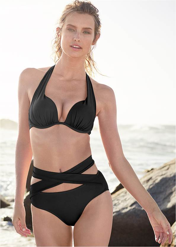 Marilyn Underwire Push Up Halter Top,Wrapped Mid Rise Bottom,Scoop Front Classic Bikini Bottom ,Mid Rise Strappy Bottom,String Side Bikini Bottom,Sheer Tunic Cover-Up