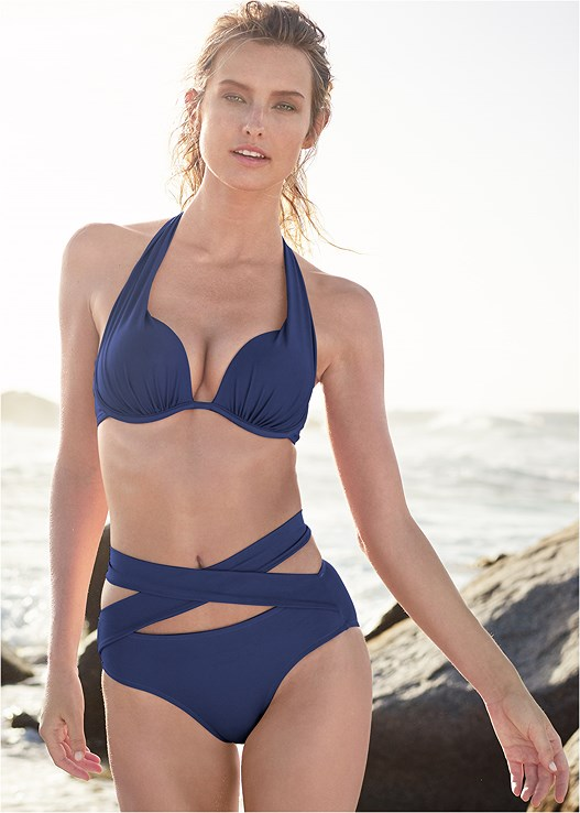 WRAPPED MID RISE BOTTOM,MARILYN PUSH UP BRA TOP,STRAPPY BANDEAU TOP,GODDESS ENHANCER PUSH UP