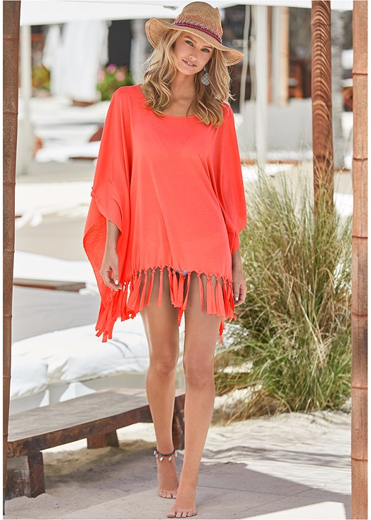FRINGE DETAIL COVER-UP,LACE UP ENHANCER,SCOOP FRONT BIKINI BOTTOM,LOW RISE BIKINI BOTTOM